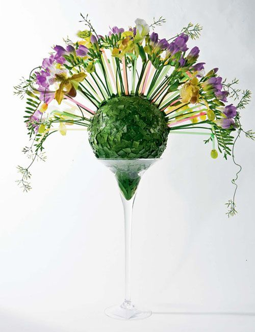 Beautiful flowers for table decorations, orchid and freesia flower ...