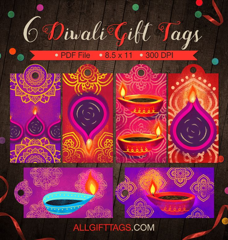 Printable Diwali gift tags. Get them in PDF format at http://allgifttags.com/download/diwali-gift-tags/