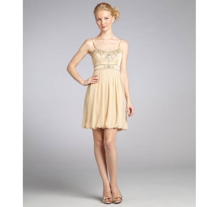 Sue Wong Champagne Beaded Chiffon Cocktail Dress Sale 59