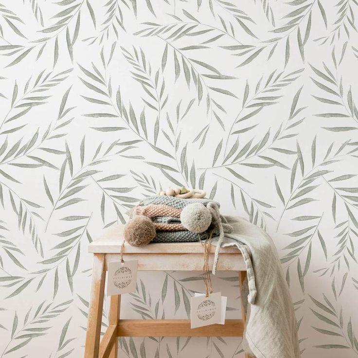 Light Green Olive Tree Leaves Removable Wallpaper By Livettes Green Leaves Light Livettes O Kinderzimmer Tapete Kindergarten Wallpaper Tapeten Entfernen