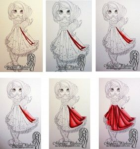 Coloring folds of a dress/fabric