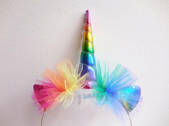 Regenboog Unicorn hoofdband  Rainbow Unicorn Horn  door Graciosa