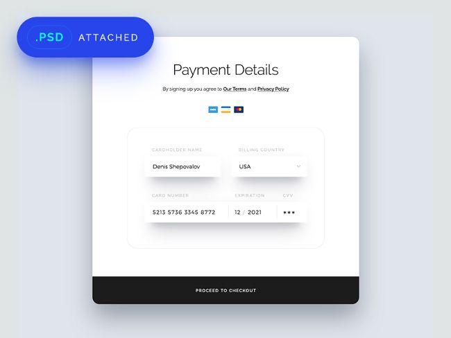 Шаблон с дизайном формы о внесении информации с кредитной карты.