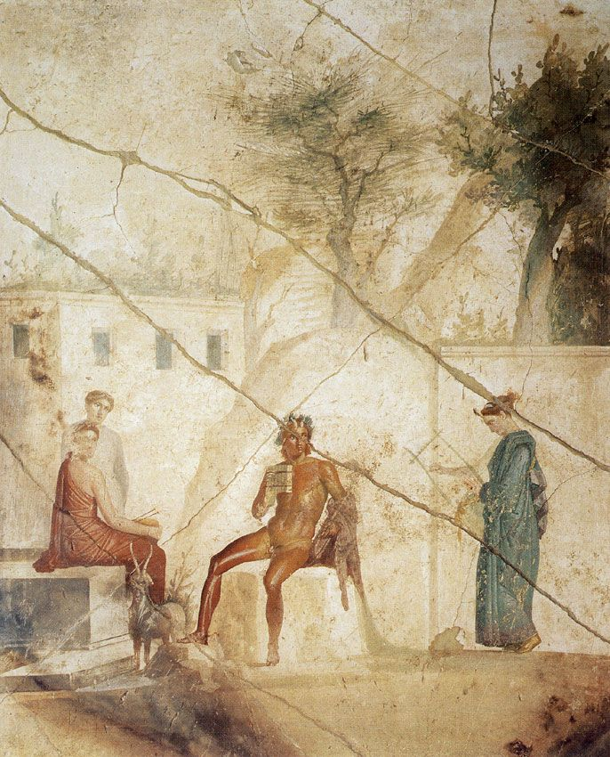 Pan and the nymphs. Fresco from Pompeii (House of Fatal Love, IX, 5, 18). 1—20 CE. Inv. No. 111473. Naples, National Archaeological Museum
