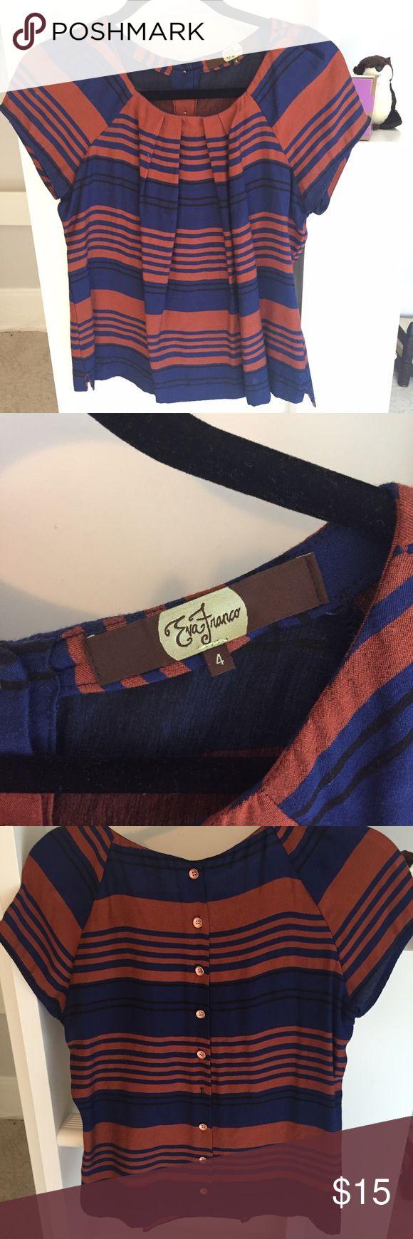 Eva Franco Blouse Eva Franco blue, rust, and black striped blouse. One button missing in the back. Eva Franco Tops Blouses