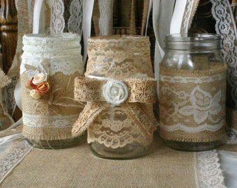 Frascos de la boda de encaje del vinatge de amd por Bannerbanquet