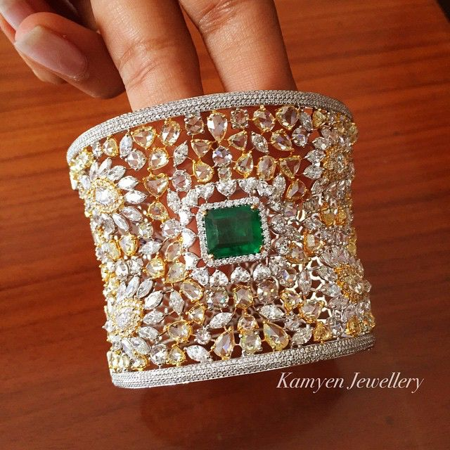 Rosamaria G Frangini | MY Green Jewellery | Cuff with a rose cut beauty with Natural Fancy Yellows, Pinks & Whites  Diamonds and Emerald