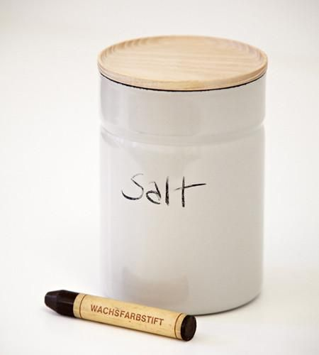 A tall enamel storage container for the kitchen, bathroom or office. Stackable, with an ash lid, a silicone gasket and an airtight seal. Made the traditional way, by fusing layers of powdered glass onto steel at temperatures reaching over 1400 F. These canisters have a satisfying heft that is achieved by a labor intensive process involving four individual layers of enamel, which are baked between each coat in tremendous kilns. True porcelain-enamel such as this is non-porous and therefore…