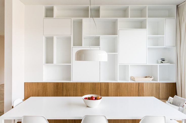 Wall cabinets: white and wood