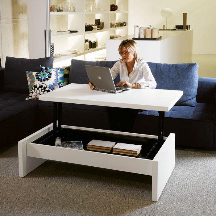 Table basse relevable Yoyo 4pieds 1106euros (ou 3 x 368.67 € sans frais) fermée 120 x 70 cm, hauteur 35 cm. Ouverte 120x106 cm transformable de hauteur 35 cm à 64 cm. Plateau de travail 120x70 cm.