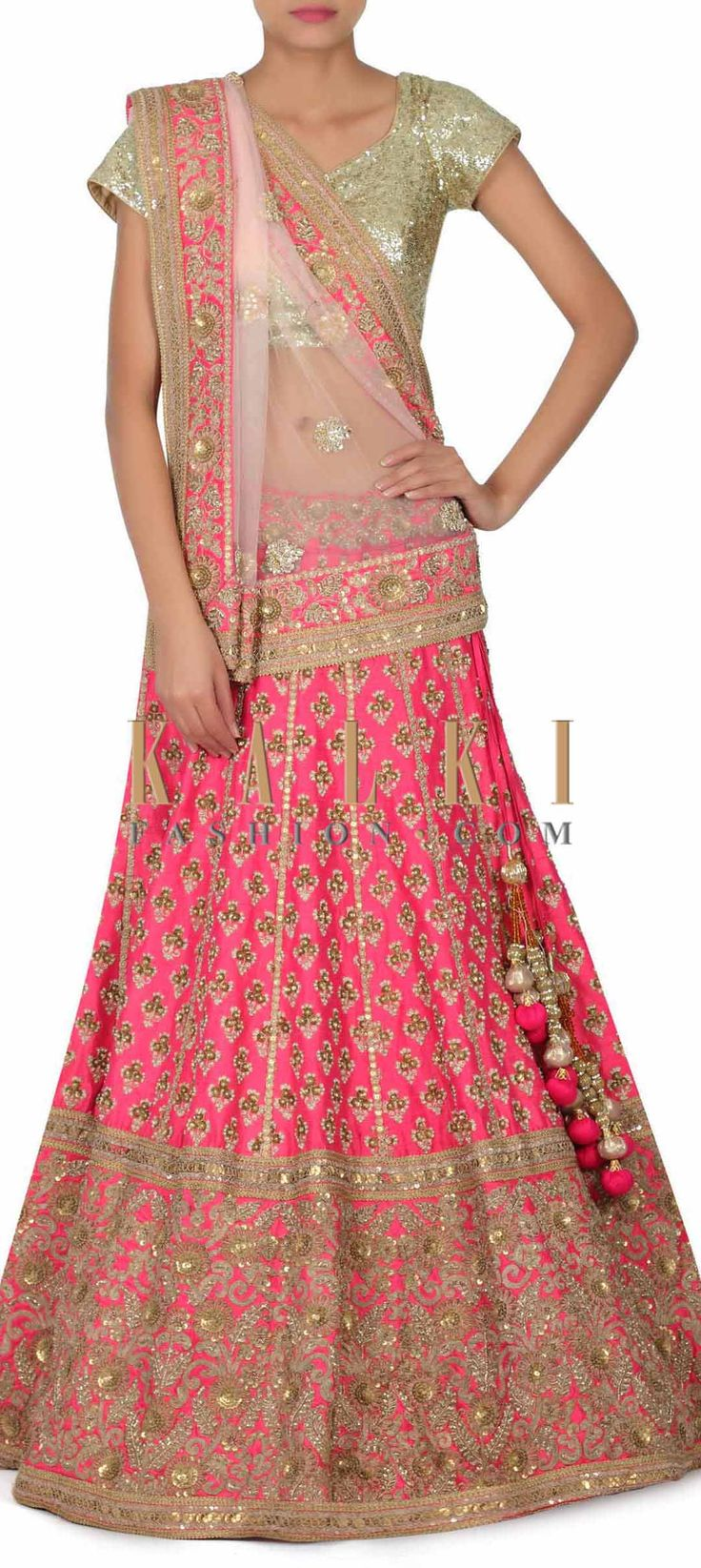 Buy this Rani pink lehenga adorn in sequin and moti embroidery only on Kalki