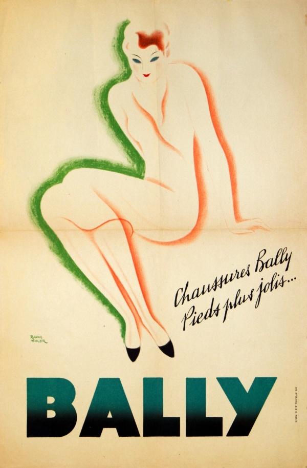Original vintage advertising poster for Bally shoes: Chassures Bally Pieds plus jolis by Raoul Auger, les Ateliers ABC Paris.