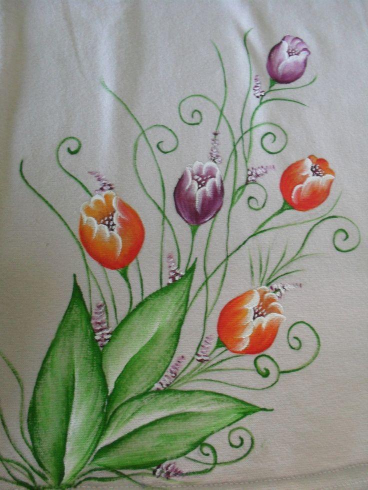 Pintura em camisetas pesquisa google pintura em tecido pinterest search ems and pintura - Flores de telas hechas a mano ...