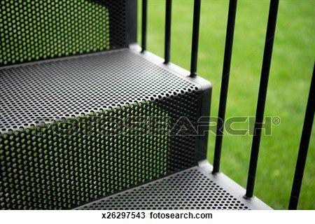 noir, métal, extérieur, escalier Voir Image Grand Format