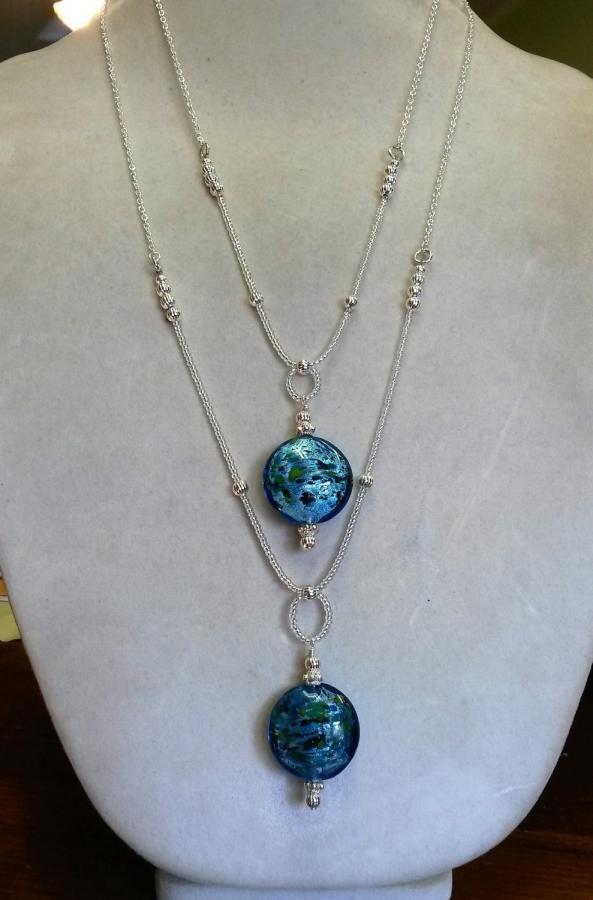 Blue Designer Glass Pendant Necklaces by BDBD Bead Designs by Debbie