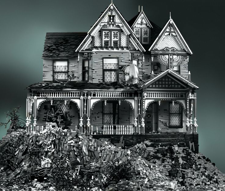 wowwwwwwww. / Victorian on Mud Heap, series by Mike Doyle.  Made completely from Lego.  5.5' x 6' x 3'  110k - 130k  pieces  Black, white, dark and light bluish gray, clear trans and black trans colors used.  No foreign materials (wood, glue, paint or otherwise) were used – this is pure Lego.  No altered Lego (painted,  custom, cut or otherwise).  Photo retouching used only for adding contrast and color correction & background.  Approx 600 hours to build.  Third in my series of Abandoned Houses.: Haunted Houses, Art, Legos, Abandoned House, Victorian Houses, Lego House