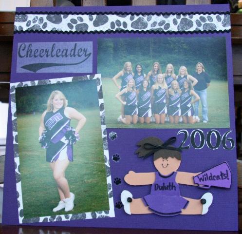 Cheerleader scrapbook page