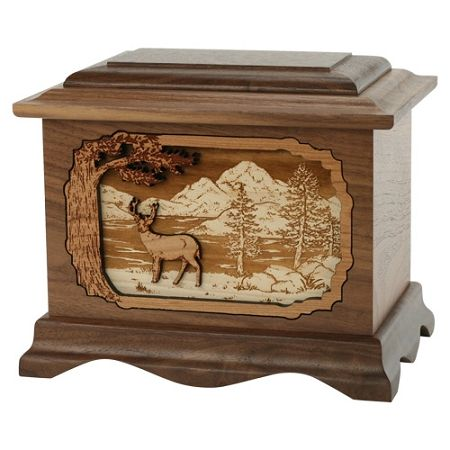 Wildlife Scene Wood Urn for Ashes | Wood Urns for Cremation