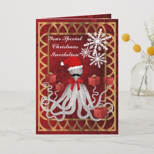 Funny Christmas Santa octopus invitation Christmas Party