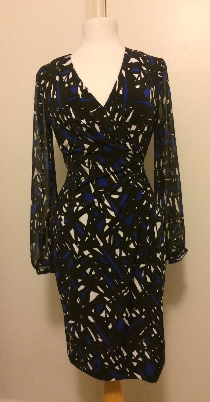 Leona By Leona Edmiston Dress black and blue scribble
