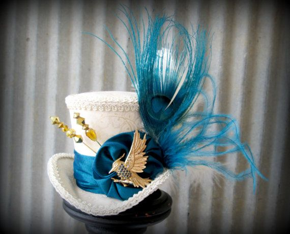 Mocking Jay Peacock Mini Top Hat Mad Tea Party Mad by ChikiBird, $52.00
