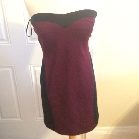 Cute burgundy and black tube dress Burgundy and black tube dress! NEVER WORN! 92% polyester 8% spandex. Lining 100% polyester Forever 21 Dresses