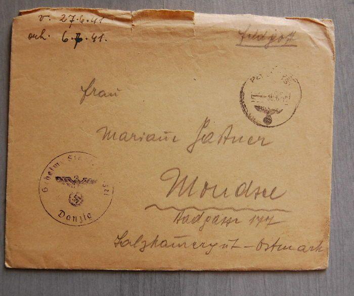 """Veldpost postzegel geheime staatspolitie Gdańsk  Veldpost brief 3.06.41niet helemaal compleet stempel """"eheime State police Danzigf""""Inhoud van de briefgeript van iets lelijkVerzekerde verzending  EUR 1.00  Meer informatie"""