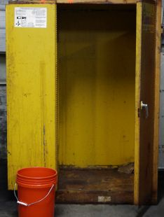 Powder Coat Oven Homemade powder coating oven adapted from a surplus double-walled flammable materials cabinet.