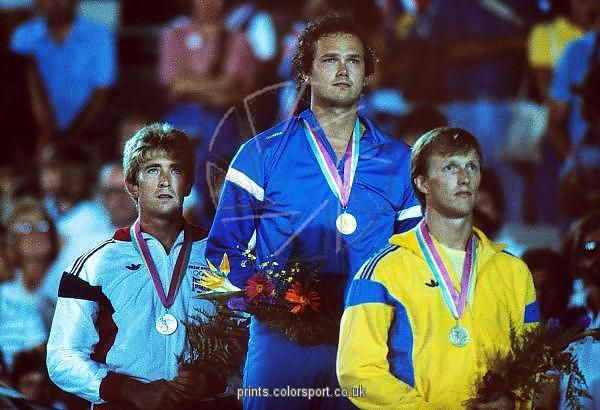 Kenth Eldebrink   1984 Los Angeles Olympics - Men's Javelin Throw Prints - Colorsport. Prispallen vid OS i Los Angeles 1984, spjutkastning k. Eldebrink brons.