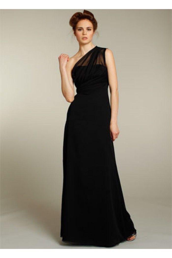 Sheath One Shoulder Illusion Neckline Long Black Chiffon Wedding Guest Bridesmaid Dress