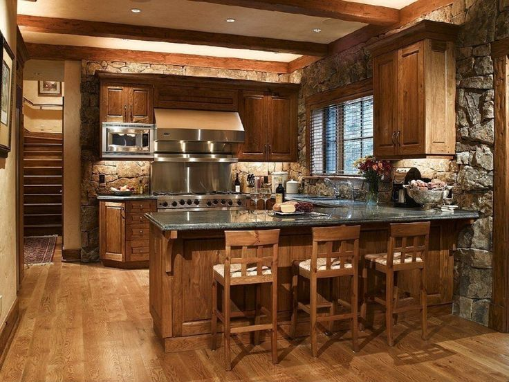Hardwood Breakfast Bar Exposed Beams Peninsula Rustic