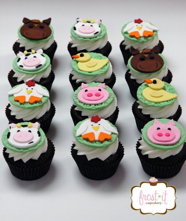 Fondant farm animal cupcake toppers farm birthday party farm animal fondant cupcake topper