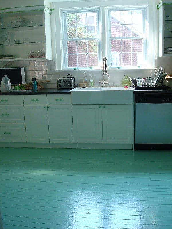 Teal painted wood floors!  What a great DIY idea to touch up some old floors.