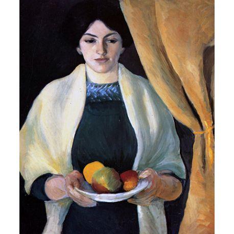 Portrait with apples - August Macke - reprodukcje na płótnie - Fedkolor
