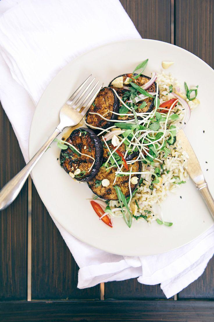 sticky teriyaki eggplant w/ herbed cashew + coconut rice - The First Mess