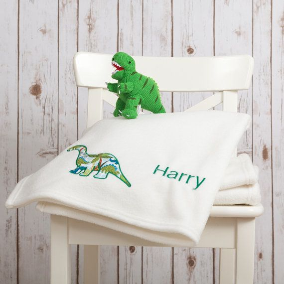 Personalised baby blanket with a Dinosaur Applique by BettyBramble