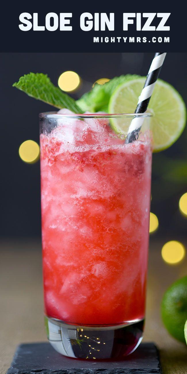 Raspberry Sloe Gin Fizz Cocktail Recipe Cocktail Recipes Easy Gin Fizz Sweet Cocktails