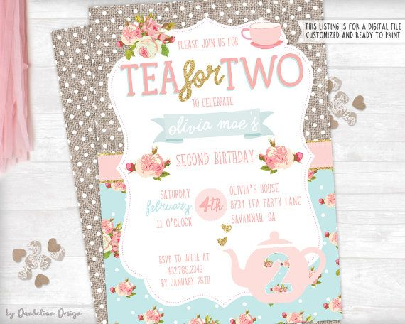 Tea for Two Second Birthday Invitation plus Thank You Card Printable