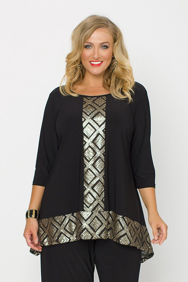 50016 Bronze Sequin Top - Stunning black jersey top with gold/bronze sequin pattern inserts. Fantastic for a special occasion.