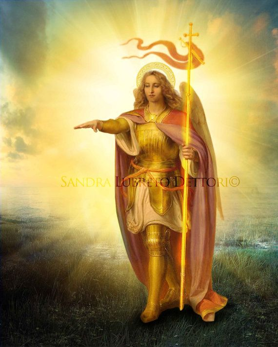 St. Michael Archangel Art Print  by Sandra by ThreeArchangels