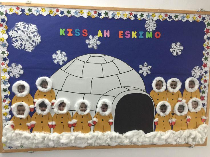 Kiss an Eskimo. Bulletin boards, winter, igloo, Eskimo, love, kindergarten, preschool, Cambridge school of Bucharest, snowflakes