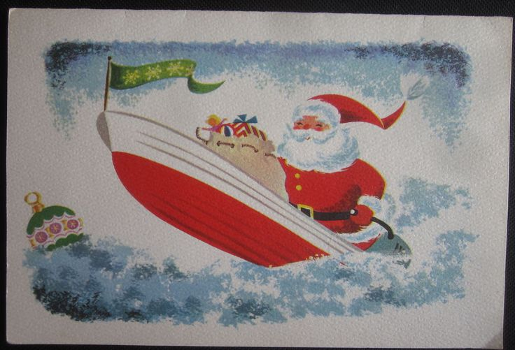 Vintage Christmas Greeting Card Boating Santa and Packages Mid Century