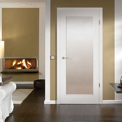 White With Lite Insert With Acid Etched Glass Modern Interior Doors Miami Bartels