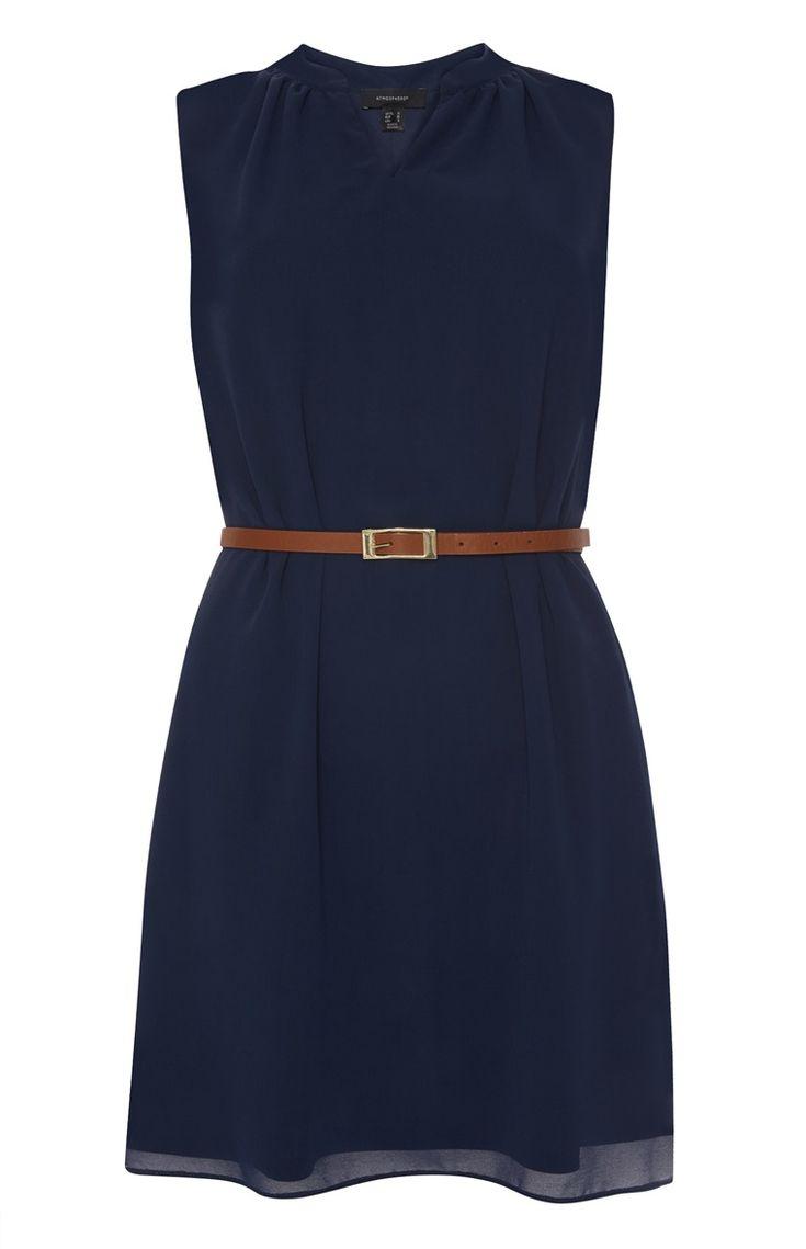 Primark - Donkerblauwe chiffon jurk met riempje