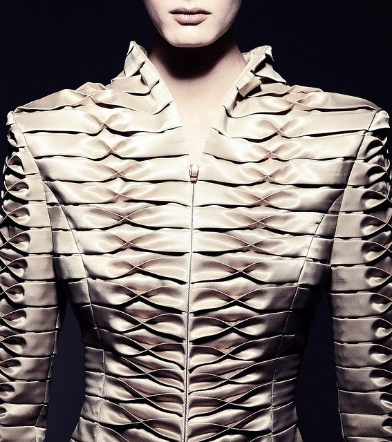 Elegant Fabric Manipulation for Fashion - beautifully balanced tuck  fold variation used to create structured pattern  texture detail // Giorgia Fonyodi