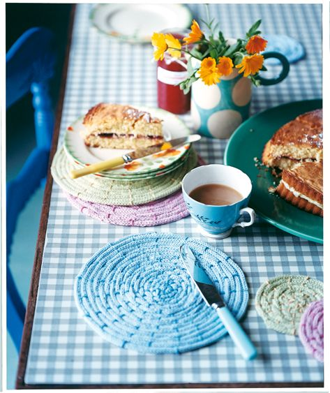 Try your hand at French knitting and make a set of table accessories that will complete your outdoor entertainment makes.