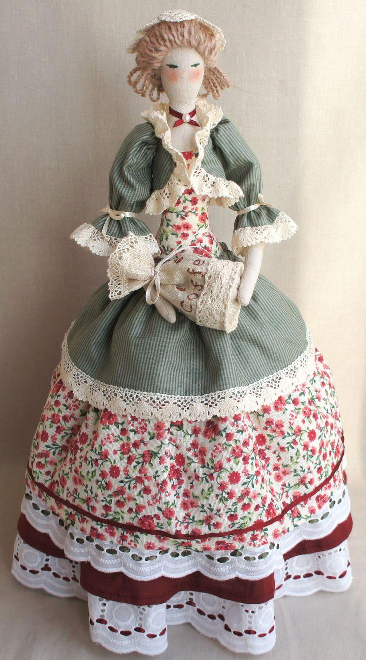Кукла текстильная ручная работа Кофейная фея F`iva  (грелка на кофейник)