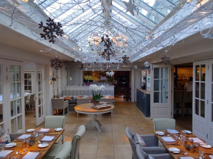 Bright, airy and festive. Fine dining at The Conservatory restaurant at Calcot Manor in the #Cotswolds. http://www.calcotmanor.co.uk/dining-at-calcot/conservatory/
