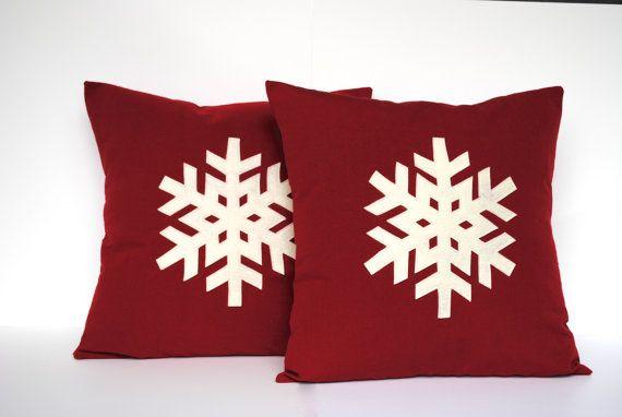 Two Snowflake Christmas Pillow covers, holiday pillow, decorative pillow, cushion, Christmas decoration