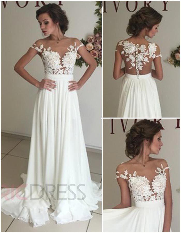 feb4eb4c1 Ericdress Illusion Neck Mesh Lace Chiffon High Split Wedding Dress   Indianweddingdresses